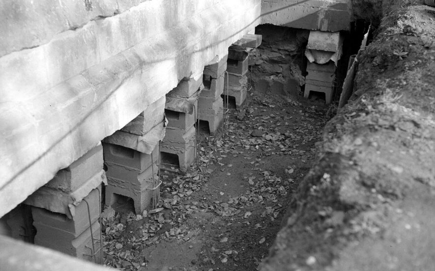 Close up of the underpinning of Astley church wall which was carried out by the National Coal Board.  1951 |  IMAGE LOCATION: (Warwickshire County Record Office)