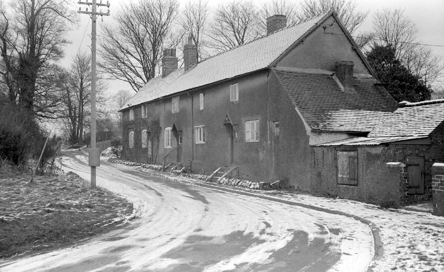 Astley Post Office and cottages under snow.  1952 |  IMAGE LOCATION: (Warwickshire County Record Office)