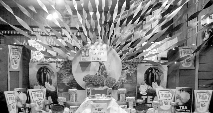 Shop window display in Corbett's grocers shop in Coton Road, near Princes Street junction, Nuneaton.  1953 |  IMAGE LOCATION: (Warwickshire County Record Office)