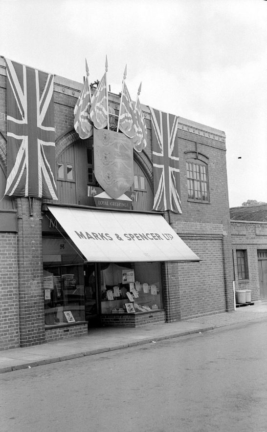 Marks & Spencers store in Mill Walk, Nuneaton, decorated for Elizabeth's  coronation.  24 May 1953 |  IMAGE LOCATION: (Warwickshire County Record Office)