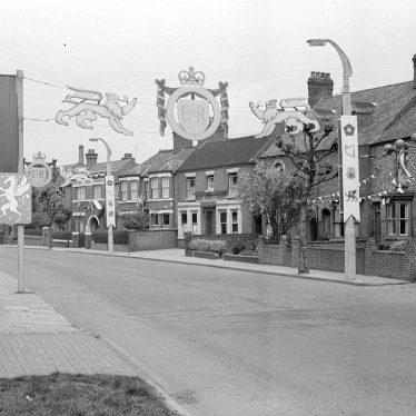 Nuneaton.  Coton Road, coronation decorations