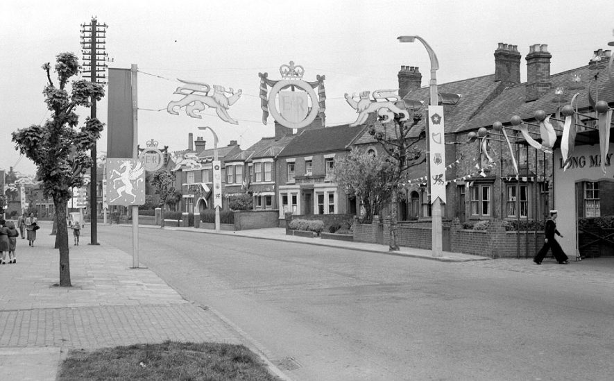 Coronation decorations in Coton Road, Nuneaton.  1953 |  IMAGE LOCATION: (Warwickshire County Record Office)