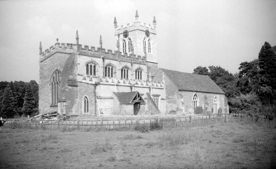 Exterior view of the church at Wootton Wawen.  1955 |  IMAGE LOCATION: (Warwickshire County Record Office)