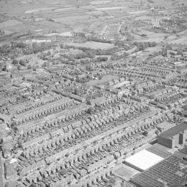 Nuneaton.  Aerial view of the town centre