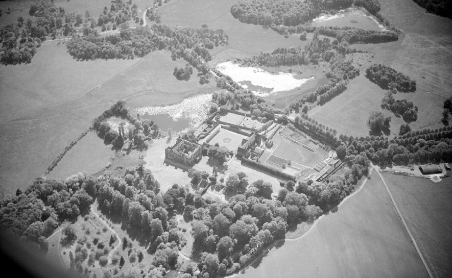 Aerial view of Arbury Hall and its environs.  1957 |  IMAGE LOCATION: (Warwickshire County Record Office)