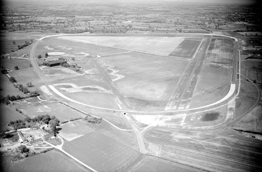 Aerial view over the Motor Industry Proving Ground at Lindley.  1957    IMAGE LOCATION: (Warwickshire County Record Office)