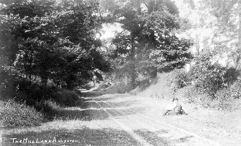 A man sitting on the grass at Mill Lane, Alveston.  1910 |  IMAGE LOCATION: (Warwickshire County Record Office)