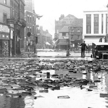 Nuneaton.  Market Place after the floods