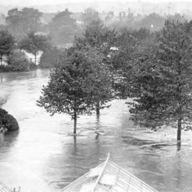 Nuneaton.  Riversley Park during floods