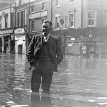 Nuneaton.  Market Place, during floods