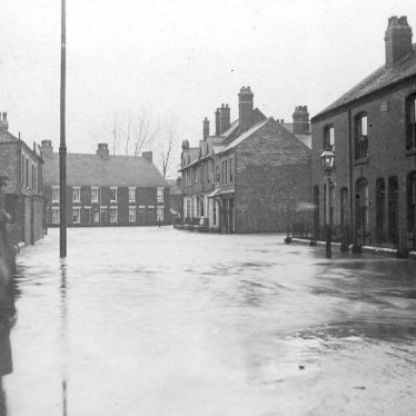 Attleborough.  Street scene during the floods