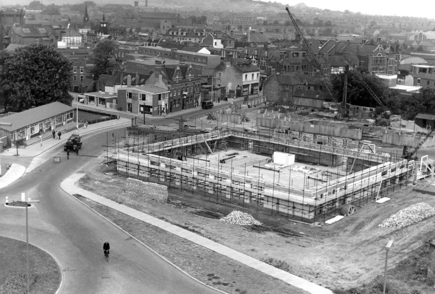 Nuneaton's new library under construction. View from church tower. Photograph taken 26 April 1961.