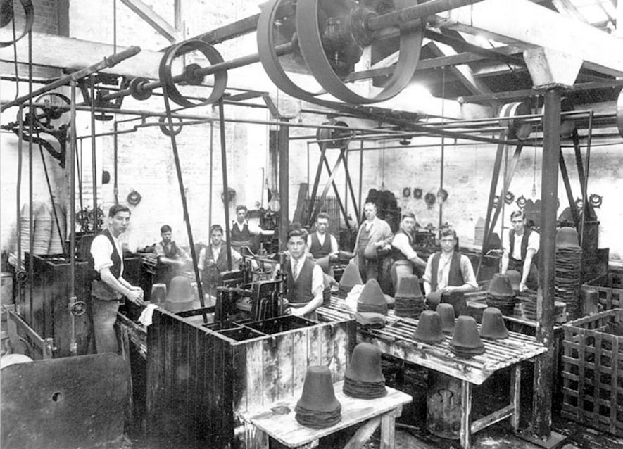 Interior of Hall & Phillips hat factory, Nuneaton.  1920s |  IMAGE LOCATION: (Nuneaton Library)