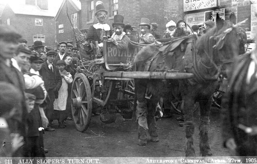 The Ally Sloper's Turnout watched by a large crowd at Atherstone Carnival.  1905 |  IMAGE LOCATION: (Warwickshire County Record Office)