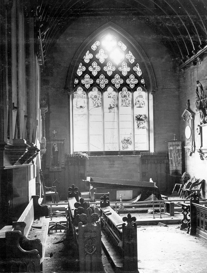 Bomb damage at St Nicholas Church, interior view, Nuneaton.  1940s |  IMAGE LOCATION: (Nuneaton Library)