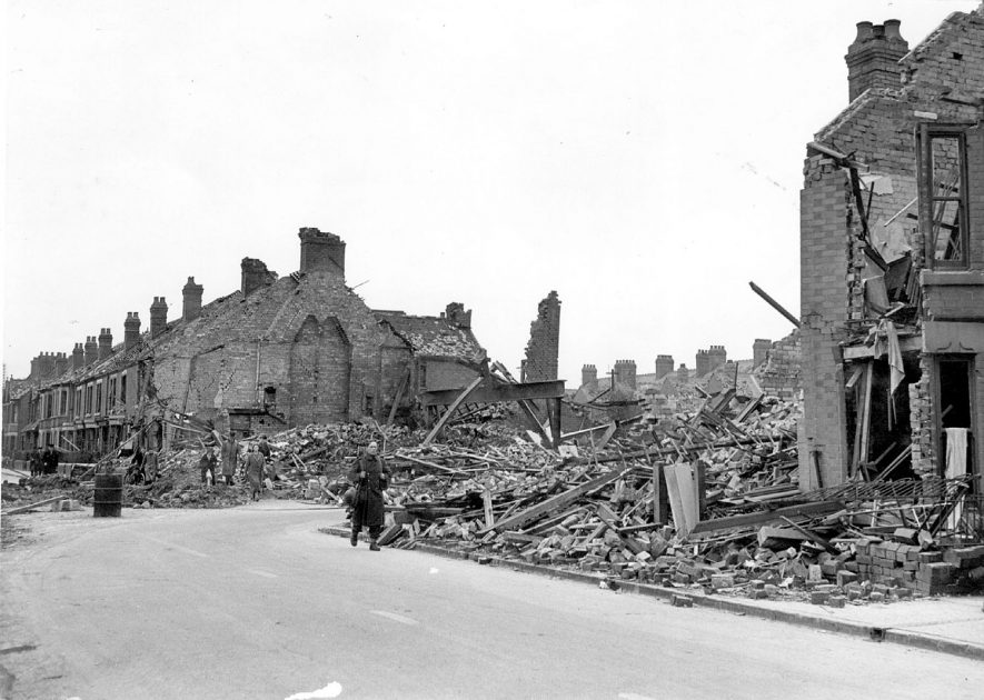 Bomb damage on the corner of Henry Street and Edward Street, Nuneaton.  1940s |  IMAGE LOCATION: (Nuneaton Library)
