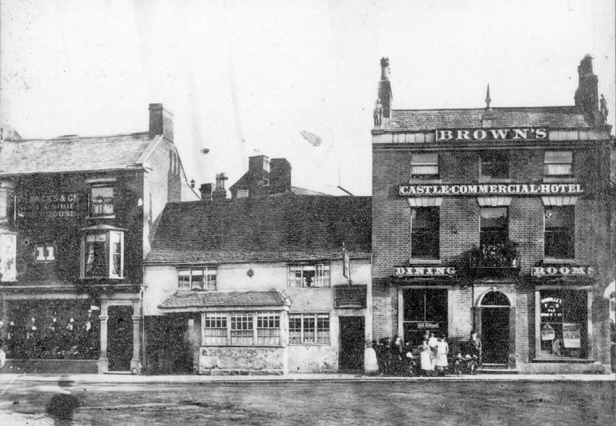 White Hart Inn & Brown's Castle Commercial Hotel in Market Place, Nuneaton.  1870 |  IMAGE LOCATION: (Nuneaton Library)