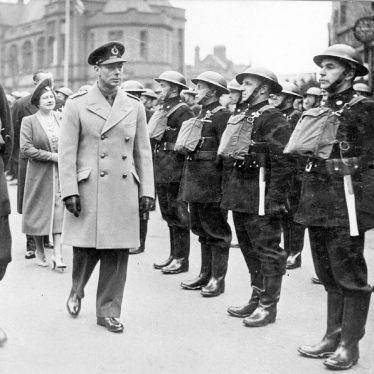 Nuneaton.  King George VI reviews the Fire Brigade