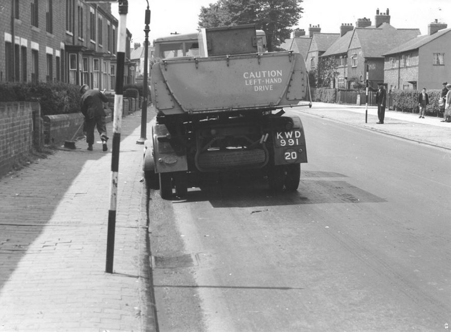 Corporation road cleaning vehicle in Tomkinson Road, Nuneaton.  1950s |  IMAGE LOCATION: (Nuneaton Library)