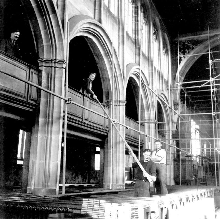 St Nicholas Church interior during restoration, Nuneaton.  1936    IMAGE LOCATION: (Nuneaton Library)