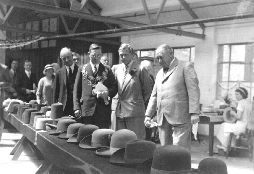 Edward, Prince of Wales, visiting Hall and Phillip's hat factory, Nuneaton.  1934 |  IMAGE LOCATION: (Nuneaton Library) PEOPLE IN PHOTO: Edward, Prince of Wales
