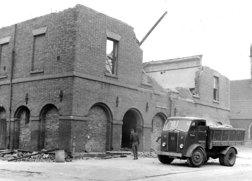 Atherstone town hall being demolished,  8th August 1963. |  IMAGE LOCATION: (Warwickshire County Record Office)