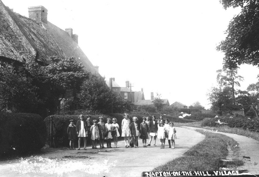A group of children standing in a road, Napton on the Hill.  1930s |  IMAGE LOCATION: (Warwickshire County Record Office)