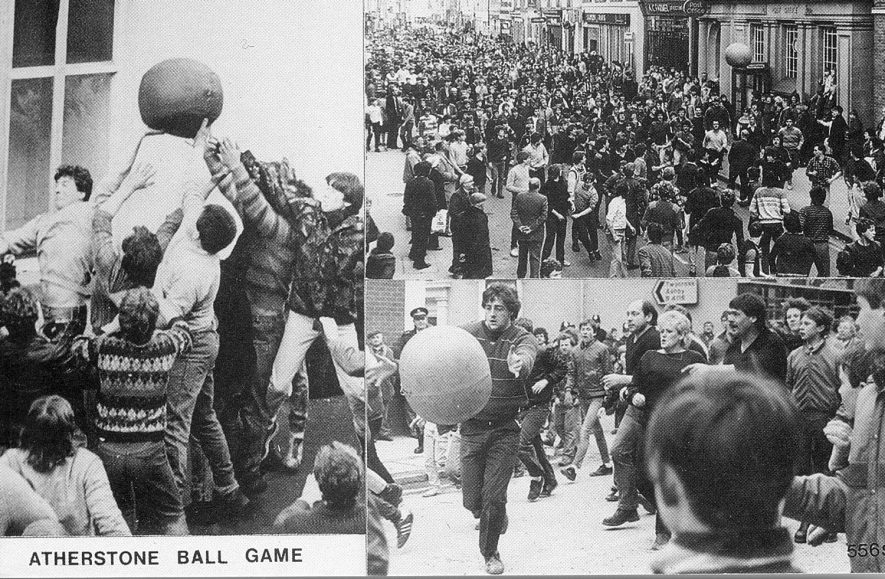 Street scenes showing the Atherstone Ball Game in progress. 1970s[lower right picture. It has been suggested the man kicking the ball is Dave