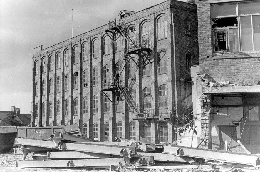 Lister & Co Ltd, plush manufacturers, Attleborough Mills during demolition.  1960s |  IMAGE LOCATION: (Nuneaton Library)