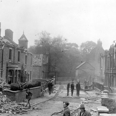 Nuneaton.  Vicarage Street after air raid