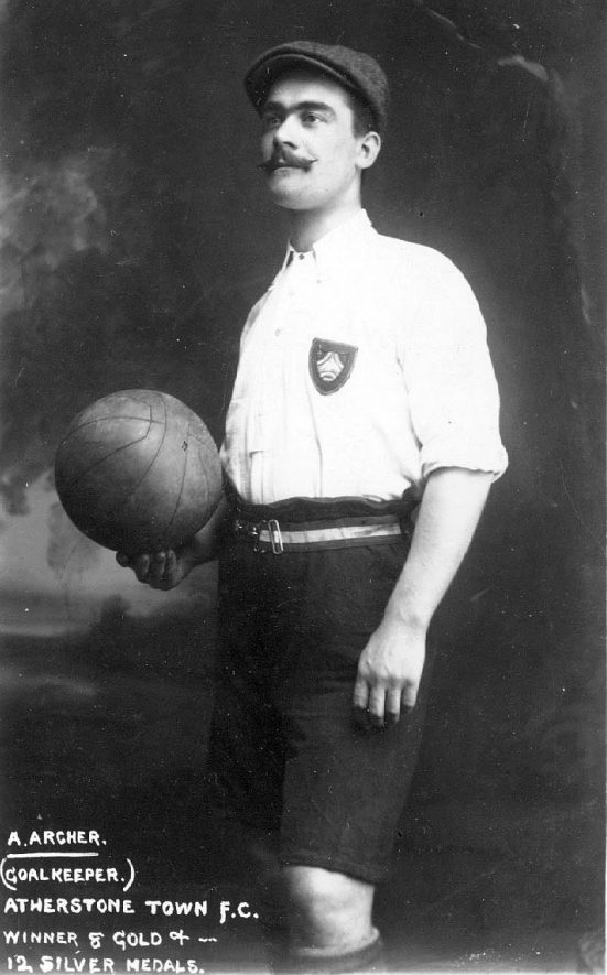 A. Archer, goalkeeper at Atherstone Town F.C. winner of 8 gold medals and 12 silver medals.  1900s |  IMAGE LOCATION: (Warwickshire County Record Office) PEOPLE IN PHOTO: Archer, A, Archer as a surname