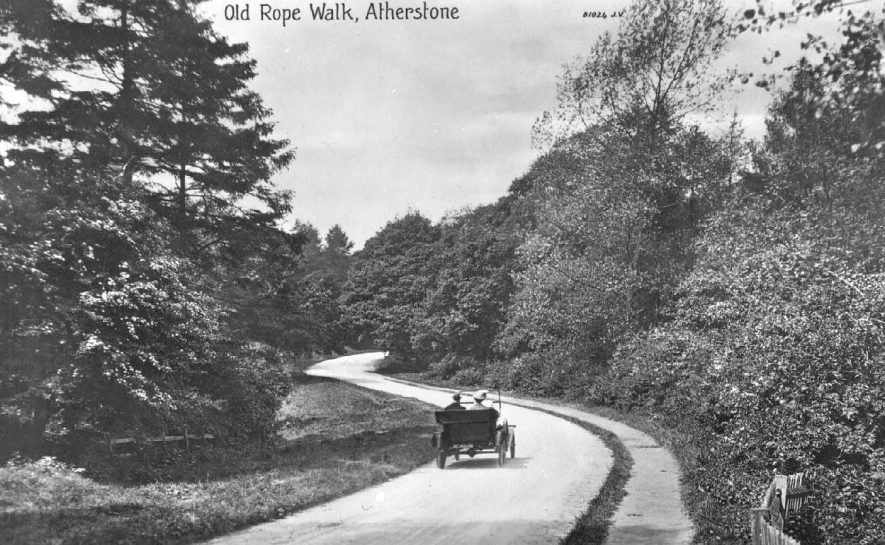 Motorcar on the Old Rope Walk, Atherstone.  1921 |  IMAGE LOCATION: (Warwickshire County Record Office)