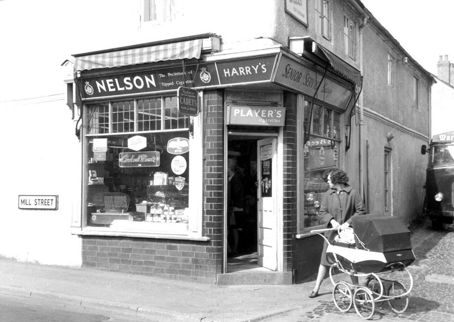 Tobacconist's shop at corner of Mill Street, Bedworth.  1940s |  IMAGE LOCATION: (Bedworth Library)