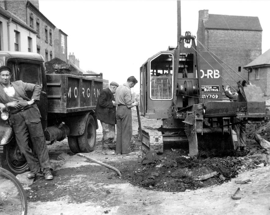 Road works using heavy machinery, Bedworth.  July I956 |  IMAGE LOCATION: (Bedworth Library)
