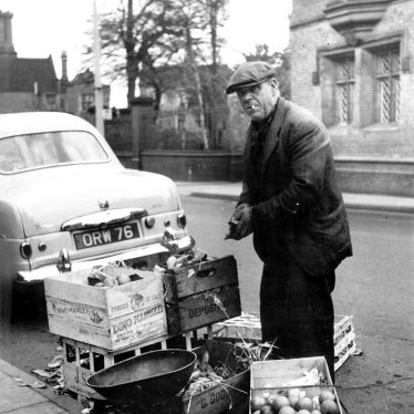 Bedworth.  Man selling apples
