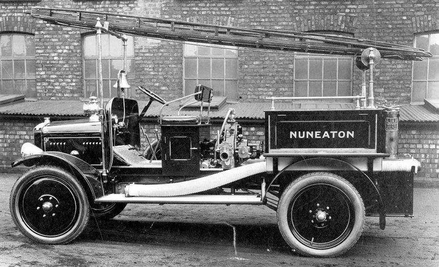 Fire Engine, Nuneaton.  Manufactured by John Morris &  Sons Ltd., Salford Fire Engine Works,  Manchester.  1900s |  IMAGE LOCATION: (Nuneaton Library)