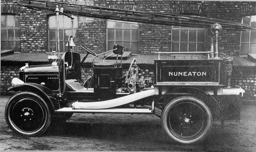 New fire engine at Nuneaton. Manufactured by John Morris & Sons Ltd. Salford Fire Engine Works, Manchester.  1900s |  IMAGE LOCATION: (Nuneaton Library)