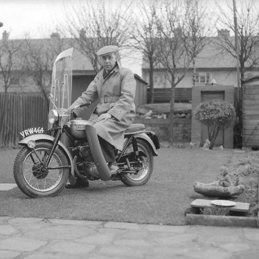 Nuneaton.  Reg Bull on his motorcycle