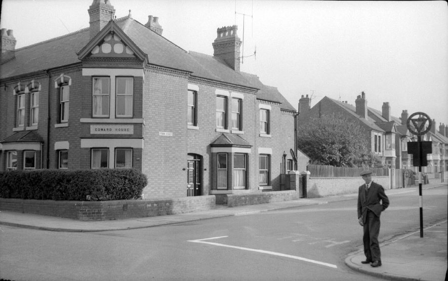 159 Edward Street, Nuneaton, home of Reg Bull, photographer. His father, Horace Bull, standing outside.  June 1st 1959 |  IMAGE LOCATION: (Warwickshire County Record Office) PEOPLE IN PHOTO: Bull, Horace, Bull as a surname