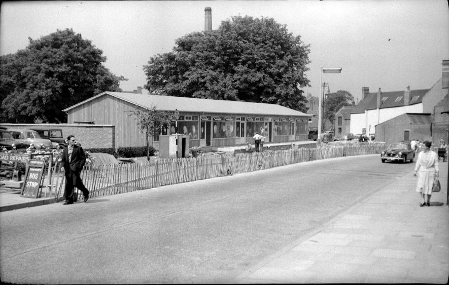 New prefabricated shops in Church Street, Nuneaton opposite the Public Library.  June 13th 1959 |  IMAGE LOCATION: (Warwickshire County Record Office)