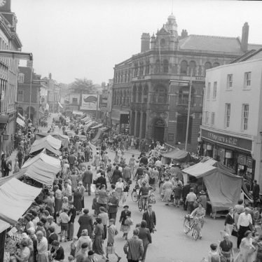 Nuneaton.  Market Place on market day