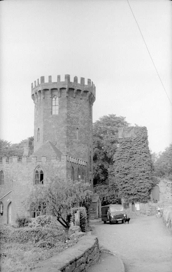 The Tower with car parked outside.  Edgehill. August 5th 1959 |  IMAGE LOCATION: (Warwickshire County Record Office)