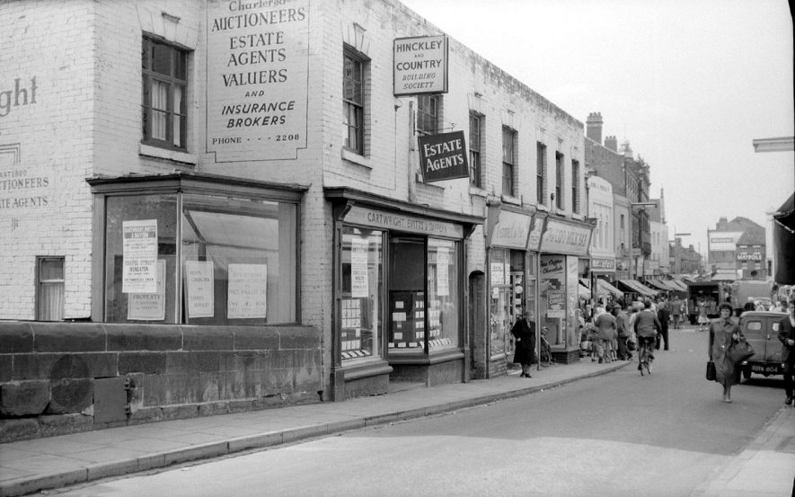Bridge Street, Nuneaton, looking towards Market Place.  Shops and pedestrians.  September 26th 1959 |  IMAGE LOCATION: (Warwickshire County Record Office)