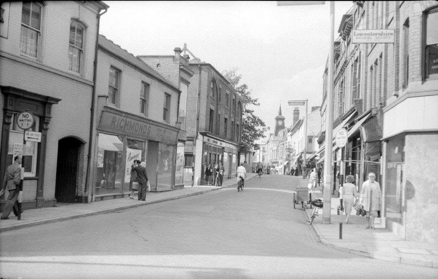 Bridge Street, Nuneaton, looking towards Market Place from Church Street.  September 26th 1959 |  IMAGE LOCATION: (Warwickshire County Record Office)