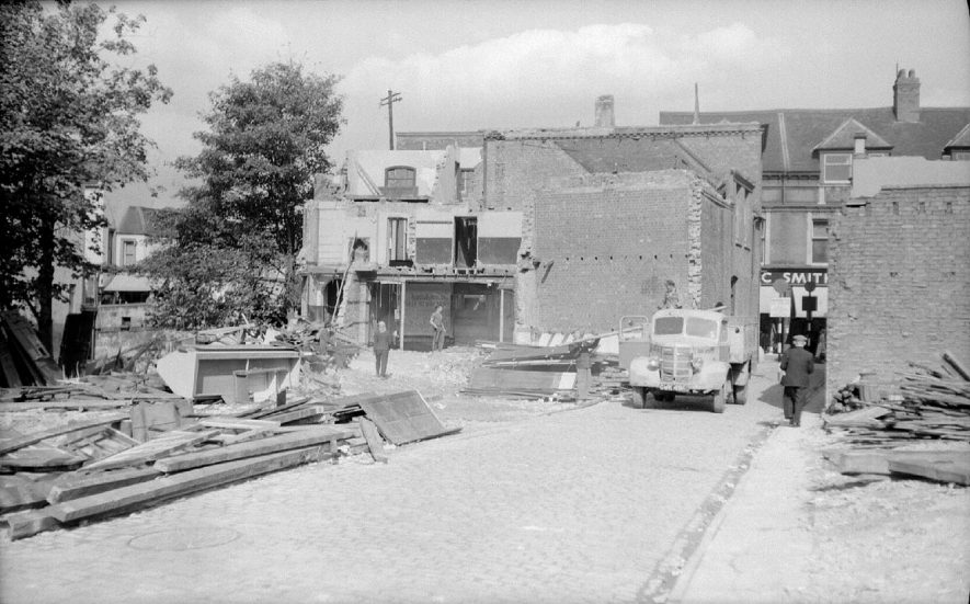 Demolition of Bridge Street shops, Nuneaton, seen from Mill Walk.  September 26th 1959 |  IMAGE LOCATION: (Warwickshire County Record Office)
