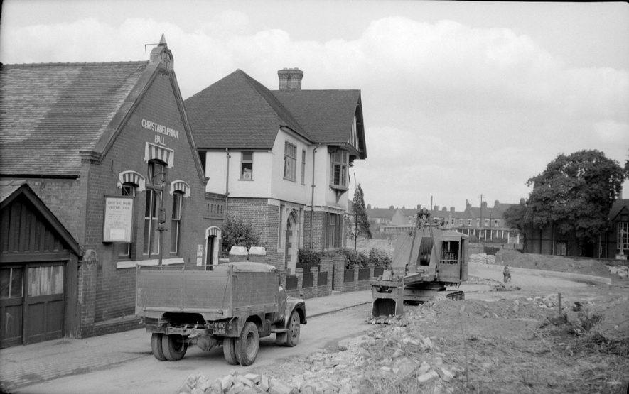 Christadelphian & Parish halls in Vicarage Street, Nuneaton, showing work on new road.  September 26th 1959    IMAGE LOCATION: (Warwickshire County Record Office)
