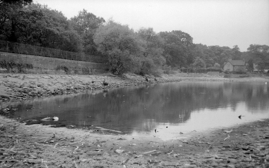 Seeswood Pool at its lowest level for many years after dry spell, Nuneaton.  October 10th 1959 |  IMAGE LOCATION: (Warwickshire County Record Office)