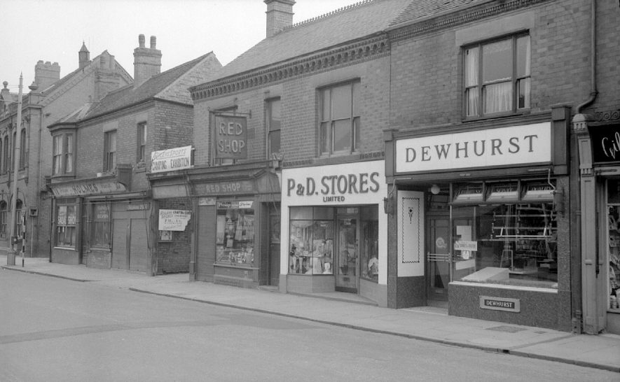 Shops in Queen's Road, shortly before their demolition.  These were situated almost opposite Stratford Street.  1962 |  IMAGE LOCATION: (Warwickshire County Record Office)