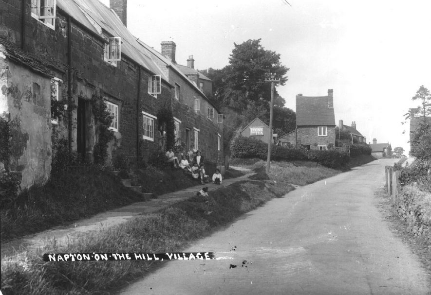 A village street, Napton on the Hill.  1930s  [View looking up Hackwell Street.]    IMAGE LOCATION: (Warwickshire County Record Office)