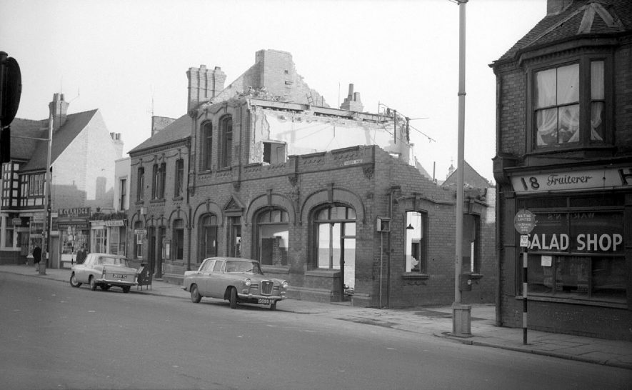 Demolition work on the Public Library in Queen's Road, opposite Stratford Street.  1962 |  IMAGE LOCATION: (Warwickshire County Record Office)